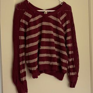 Free people burgundy v-neck sweaters with holes